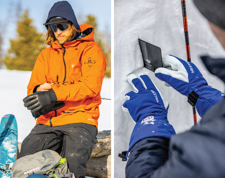 Left: skier pulls jacket over glove cuffs. Right: Using a snow crystal card while wearing over cuff gloves