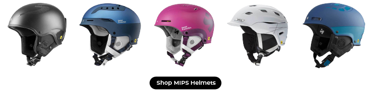 5 ski helmets with a MIPS layer made by Sweet Protection and Smith